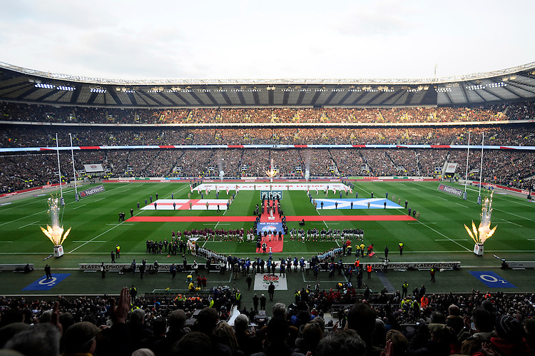 General view of Twickenham Stadium during the national anthems