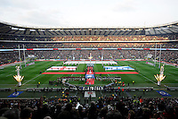 General view of Twickenham Stadium during the national anthems
