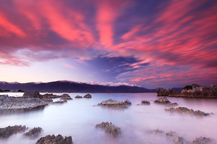 Sunrise, Kaikoura Bay, South Island, New Zealand - stock photo, canvas, fine art print