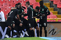 BOGOTÁ-COLOMBIA, 24-11-2019: Jugadores de Deportivo Cali, celebran el autogol de Independiente Santa Fe, durante partido de la fecha 5 de los cuadrangulares semifinales entre Independiente Santa Fe y Deportivo Cali, por la Liga Águila II 2019, jugado en el estadio Nemesio Camacho El Campín de la ciudad de Bogotá. / Players of Deportivo Cali, celebrate the autogoal of Independiente Santa Fe, during a match of the 5th date of the quarter semifinals between Independiente Santa Fe and Deportivo Cali, for the Aguila Leguaje II 2019 played at the Nemesio Camacho El Campin Stadium in Bogota city. / Photo: VizzorImage / Luis Ramírez / Staff.