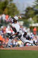 Detroit Tigers pitcher Al Alburquerque (62) during a Spring Training game against the Baltimore Orioles on March 4, 2015 at Ed Smith Stadium in Sarasota, Florida.  Detroit defeated Baltimore 5-4.  (Mike Janes/Four Seam Images)