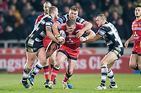 Picture by Allan McKenzie/SWpix.com - 16/03/2018 - Rugby League - Betfred Super League - Salford Red Devils v Hull FC - AJ Bell Stadium, Salford, England - Salford's Josh Jones is tackled by Hull FC's Jordqn Abdull, Scott Taylor & Dean Hadley.