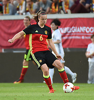 20170613 - LEUVEN ,  BELGIUM : Belgian Tine De Caigny pictured during the female soccer game between the Belgian Red Flames and Japan , a friendly game before the European Championship in The Netherlands 2017  , Tuesday 13 th Juin 2017 at Stadion Den Dreef  in Leuven , Belgium. PHOTO SPORTPIX.BE | DIRK VUYLSTEKE