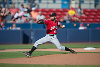 Vancouver Canadians starting pitcher Elio Silva (43) delivers a pitch during a Northwest League game against the Spokane Indians at Avista Stadium on September 2, 2018 in Spokane, Washington. The Spokane Indians defeated the Vancouver Canadians by a score of 3-1. (Zachary Lucy/Four Seam Images)