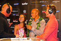 Haleiwa Hawaii, (Monday December 6, 2010) .Monday, Saxon Boucher (USA), Kelly Slater (USA)  Kalani Miller (USA) and Mark Healey (HAW).   40th annual SURFER Poll Awards were held tonight at Turtle Bay Resort on Oahu's North Shore..Sal Masekela (USA)  returned to serve as the Master of Ceremonies for the event with charismatic Hawaiian surf star Fred Patacchia as co-host .This year's SURFER Poll Awards were held in honor of recently lost legend, three-time World Champion Andy Irons. While acknowledging all of the surfers lost this year, the event  put a heavy focus on Andy and the legacy he leaves behind in and out of the water. Another focal point of this year's show was  Kelly Slater's 10th world title win. Touted as the world's most dominant athlete, Kelly's accomplishments have catapulted the sport of surfing and garnered the world's attention. Kelly was award the male Surfer of the Year award with Stephanie Gilmore (AUS) taking out the Female Surfer of the Year..Photo: joliphotos.com