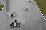 Nico ROSBERG, GER, Team Mercedes-AMG-Petronas Formula One, Mercedes F1 W05, M-B PU106A-Hybrid, leads the field ahead of Lewis HAMILTON and BOTTAS in the Williams F1 -<br /> SUZUKA, JAPAN, 05.10.2014, Formula One F1 race, JAPAN Grand Prix, Grosser Preis, GP du Japon, Motorsport, Photo by: Sho TAMURA/AFLO SPORT  GERMANY OUT