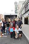 Cast Members Black Angels Over Tuskegee - Back: Delano Barbosa, Jeantique Oriol,  Nilton Emilio (stage manager), Lamar Cheston, David Roberts, Mitch Ost (lighting). Front: Thaddeus Daniels, Craig Colasanti as they pack and then visit Niagara Falls - on September 8, 2015. (Photo by Sue Coflin/Max Photos)