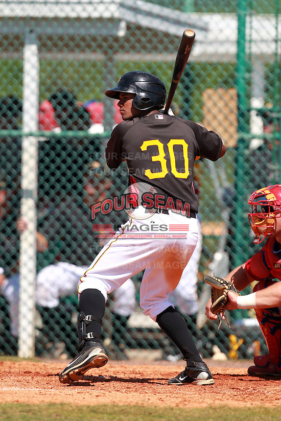 Pittsburgh Pirates minor league third baseman Eric Avila (30) vs. the Philadelphia Phillies in an Instructional League game at Pirate City in Bradenton, Florida;  October 6, 2010.  Photo By Mike Janes/Four Seam Images