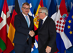 Belgium, Brussels - June 24, 2018 -- Informal working meeting on migration and asylum issues convened by Jean-Claude JUNCKER (ri), President of the European Commission, here welcoming Juha SIPILÄ (le),Prime Minister of Finland -- Photo © HorstWagner.eu
