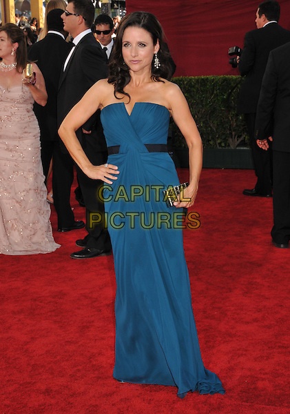 JULIE LOUIS-DREYFUS.Arrivals at the 61st Annual Primetime Emmy Awards held at NOKIA Theatre L.A. LIVE, Los Angeles, California, USA..September 20th, 2009.emmys full length dress strapless blue hand on hip silver clutch bag.CAP/ADM/BP.©Byron Purvis/AdMedia/Capital Pictures.