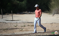 Haydn Porteous (RSA) finds the sand down the 3rd during the Final Round of the 2016 Omega Dubai Desert Classic, played on the Emirates Golf Club, Dubai, United Arab Emirates.  07/02/2016. Picture: Golffile | David Lloyd<br /> <br /> All photos usage must carry mandatory copyright credit (&copy; Golffile | David Lloyd)