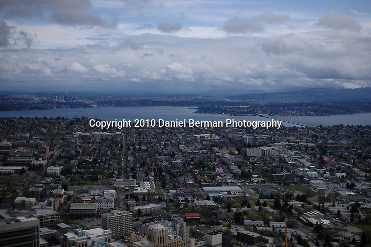 Aerial panoramic photos of downtown Seattle, Space Needle, Elliott Bay, Olympic Mountains, Seahawks Stadium, Qwest Field, Pioneer Square, South Seattle, downtown Seattle waterfront. Photo by Daniel Berman/www.bermanphotos.com