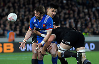 NZ's Rieko Ioane tackles France's Maxime Medard during the Steinlager Series international rugby match between the New Zealand All Blacks and France at Eden Park in Auckland, New Zealand on Saturday, 9 June 2018. Photo: Dave Lintott / lintottphoto.co.nz