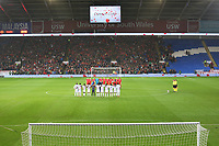 Wales and Panama pause for the minutes silence prior to kick off of the International Friendly match between Wales and Panama at The Cardiff City Stadium, Wales, UK. Tuesday 14 November 2017
