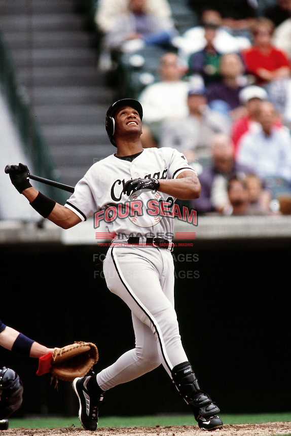 Chris Singleton of the Chicago White Sox during a game against the Anaheim Angels at Angel Stadium circa 1999 in Anaheim, California. (Larry Goren/Four Seam Images)