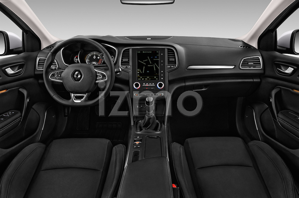 Stock photo of straight dashboard view of 2016 Renault Megane Bose 5 Door Hatchback Dashboard