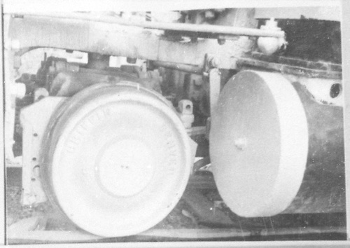 Detail of left-side cylinder head and pilot truck wheel.  (Dorman arranged this picture with the rest of #278 pictures.)<br /> D&amp;RGW
