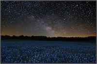 I'm always amazed at the night sky. This bluebonnet image is a composite of a bluebonnet field and the milky way. I took a long exposure of the bluebonnet field about 45 minutes after sunset when it was nearly dark. I waited for the milky way to rise in the east, then took an image of the stars using a star tracker. I blended together the two images to create this image of Bluebonnets under the Milky Way.