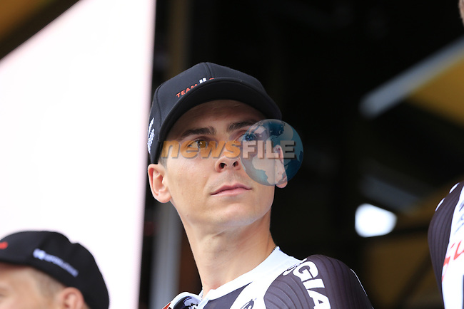 Romain Bardet (FRA) Team Sunweb on stage at the Team Presentation in Burgplatz Dusseldorf before the 104th edition of the Tour de France 2017, Dusseldorf, Germany. 29th June 2017.<br /> Picture: Eoin Clarke   Cyclefile<br /> <br /> <br /> All photos usage must carry mandatory copyright credit (&copy; Cyclefile   Eoin Clarke)