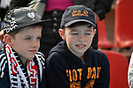 14.04.2018, BayArena, Leverkusen , GER, 1.FBL., Bayer 04 Leverkusen vs. Eintracht Frankfurt<br /> im Bild / picture shows: <br /> Fans, freundlich, Stimmung, farbenfroh, Nationalfarbe, geschminkt, Emotionen, <br /> <br /> <br /> Foto &copy; nordphoto / Meuter