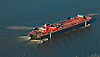Aerial view of Petroleum Oil Ship in the Delaware River
