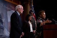 United States Representative Barbara Lee (Democrat of California) delivers remarks alongside United States Senator Bernie Sanders (Independent of Vermont), United States Representative Ro Khanna (Democrat of California), United States Representative Pramila Jayapal (Democrat of Washington), United States Senator Kirsten Gillibrand (Democrat of New York), United States Senator Patrick Leahy (Democrat of Vermont), United States Senator Chris Van Hollen (Democrat of Maryland), and United States Senator Maria Cantwell (Democrat of Washington) during a press conference on Capitol Hill in Washington D.C., U.S., on Thursday, January 9, 2020.  The lawmakers are working together on legislation that would prevent a war between the United States and Iran without congressional authorization.  <br /> <br /> Credit: Stefani Reynolds / CNP/AdMedia