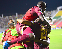 IBAGUÉ- COLOMBIA,24-10-2019:Juan Guillermo Arboleda jugador del Deportes Tolima celebra después de anotar un gol a Patriotas de Boyacá  durante  partido por la fecha 19 de la Liga Águila II 2019 jugado en el estadio Manuel Murillo Toro de la ciudad de Ibagué. /Juan Guillermo Arboleda player of Deportes Tolima celebrates after scoring a goal agaisnt of  Patriotas Boyaca during the 19 date  match for  the Liga Aguila II 2019 played at the Manuel Murillo Toro stadium in Ibague city. Photo: VizzorImage / Juan Carlos Escobar  / Contribuidor