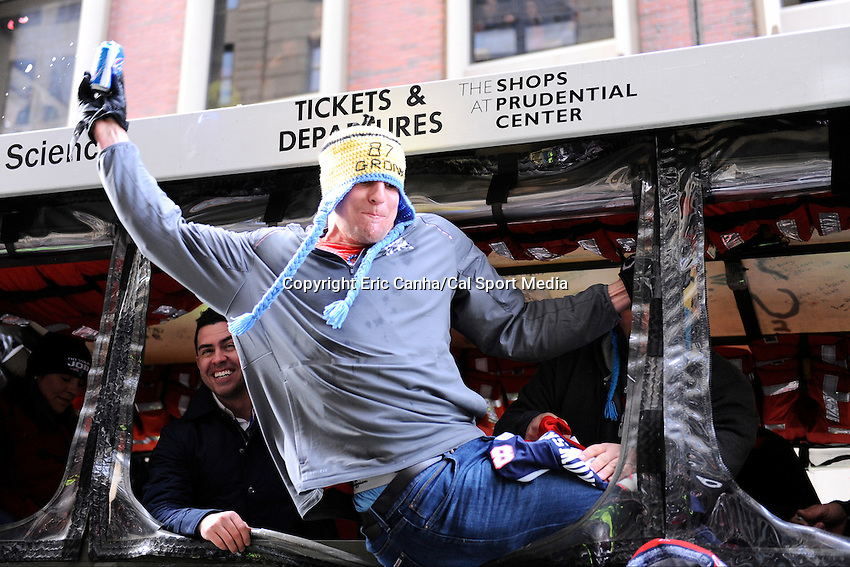 February 4, 2015 - Boston, Massachusetts, U.S. - New England Patriots tight end Rob Gronkowski (87) spikes a beer can during a parade held in Boston to celebrate the team's victory over the Seattle Seahawks in Super Bowl XLIX. Eric Canha/CSM