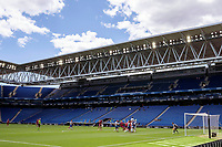13th June 2020, Barcelona, Spain; La Liga football, RCD Espanyol versus Alaves;  Players compete for the ball behind an empty stadium due to the covid-19 pandemic