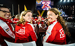 Lima, Peru -  1/September/2019 -   Carla Shibley and Meghan Lemiski carry the Canadian flag in the closing ceremony at the Parapan Am Games in Lima, Peru. Photo: Dave Holland/Canadian Paralympic Committee.
