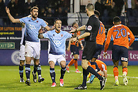 Referee Mr Darren Deadman points to the penalty spot after Danny Hylton of Luton Town is fouled during the Sky Bet League 2 Play Off Semi Final 2 leg match between Luton Town and Blackpool at Kenilworth Road, Luton, England on 18 May 2017. Photo by David Horn.