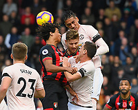 Chris Smalling of Manchester United wins a header from Nathan Ake of and Simon Francis of AFC Bournemouth during AFC Bournemouth vs Manchester United, Premier League Football at the Vitality Stadium on 3rd November 2018