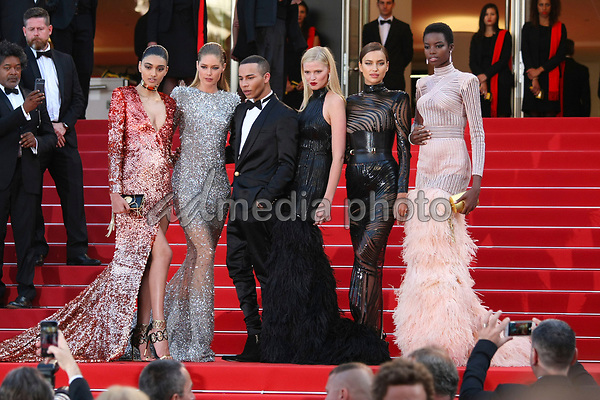 "24 May 2017 - Cannes, France - Neelam Gill, Doutzen Kroes, Olivier Rousteing, Lara Stone, Irina. ""The Beguiled"" Premiere - The 70th Annual Cannes Film Festival. Photo Credit: Georg Wenzel/face to face/AdMedia"