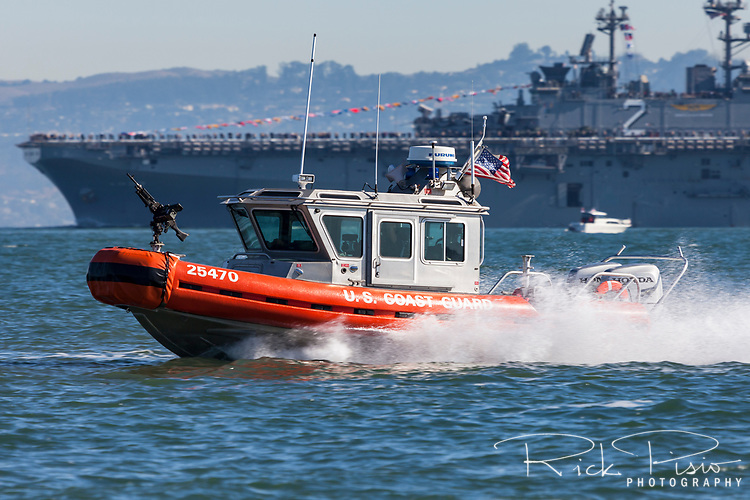 A Coast Guard MSST in a Defender-class boat, aka Response Boat – Small (RB-S), enroute to their patrol position on San Francisco Bay during 2017 Fleet Week activities.