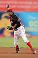 Batavia Muckdogs shortstop Yunier Castillo (7) during a game vs. the Mahoning Valley Scrappers at Dwyer Stadium in Batavia, New York August 2, 2010.  Batavia defeated Mahoning Valley 6-3 in 10 innings.  Photo By Mike Janes/Four Seam Images