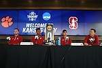 12 December 2015: Stanford head coach Jeremy Gunn (right) with (from right) Amir Bashti, Brian Nana-Sinkam, and Sam Werner. The NCAA held a press conference at Three Points at the Sporting Kansas City offices one day before the Clemson University Tigers play the Stanford University Cardinal in a 2015 NCAA Division I Men's College Cup championship match.