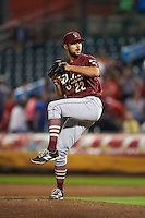 Frisco RoughRiders pitcher Kyle Lotzkar (22) delivers a pitch during a game against the Springfield Cardinals on June 3, 2015 at Hammons Field in Springfield, Missouri.  Springfield defeated Frisco 7-2.  (Mike Janes/Four Seam Images)