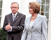 Washington, DC - October 6, 2009 -- United States Senate Majority Leader Harry Reid (Democrat of Nevada), left, and U.S. Speaker of the House Nancy Pelosi, right, make their way to the microphones to make remarks after meeting United States President Barack Obama on the U.S. strategy in Afghanistan on Tuesday, October 6, 2009..Credit: Ron Sachs / Pool via CNP