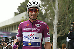 Maglia Ciclamino Elia Viviani (ITA) Quick-Step Floors at sign on before the start of Stage 3 of the 101st edition of the Giro d'Italia 2018 running 229km flat stage from Be'er Sheva to Eilat is the last in Israel. 6th May 2018.<br /> Picture: LaPresse/Fabio Ferrari | Cyclefile<br /> <br /> <br /> All photos usage must carry mandatory copyright credit (&copy; Cyclefile | LaPresse/Fabio Ferrari)