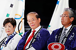 (L-R)  Yuriko Koike, Toshiro Muto, Tsunekazu Takeda, <br /> JULY 24, 2017 : <br /> The countdown event Tokyo 2020 Flag Tour Festival and 3 Years to Go to the Tokyo 2020 Games, <br /> at Tokyo Metropolitan Buildings in Tokyo, Japan. <br /> (Photo by Yohei Osada/AFLO SPORT)
