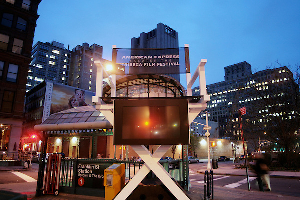 Giant director's chairs, sponsored by American Express, are placed around the city to advertise for the 2007 Tribeca Film Festival.