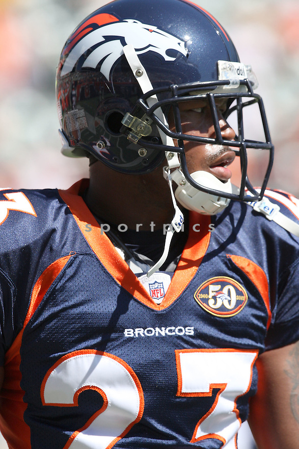 RENALDO HILL,of the Denver Broncos , in actions during the Broncos  game against the Cincinnati Bengals  on September 13, 2009 in Cincinnati, OH  The Broncos beat the Bengals 12-7.