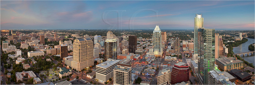 Taken from high above Austin, this panormama is a 3 image blend to create the full view of downtown Austin from 45 stories high. Town Lake, also known as Lady Bird Lake, is south (right), The Frost Tower is front and center, and to the north (left) is the Texas State Capitol building, and further north is the UT Tower.