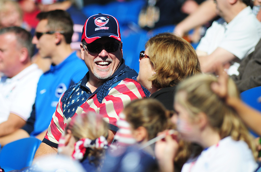 A USA fan before todays match<br /> <br /> Photographer Kevin Barnes/CameraSport<br /> <br /> Rugby Union - 2015 Rugby World Cup - Samoa v USA - Sunday 20th September 2015 - Brighton Community Stadium - Falmer - Brighton<br /> <br /> &copy; CameraSport - 43 Linden Ave. Countesthorpe. Leicester. England. LE8 5PG - Tel: +44 (0) 116 277 4147 - admin@camerasport.com - www.camerasport.com