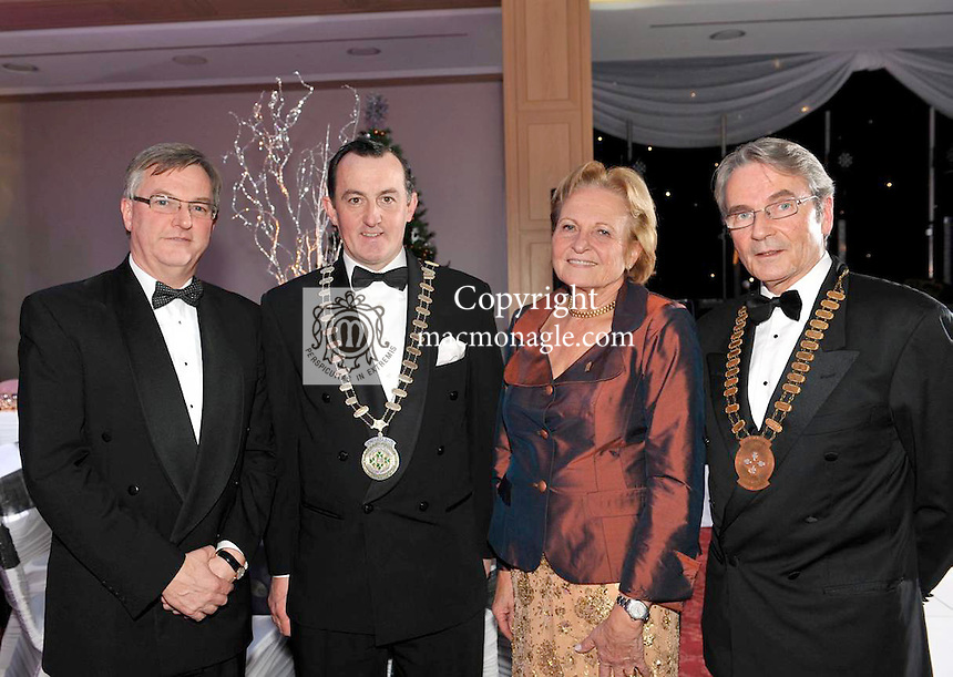 Dr Isolde Liebherr, Vice-President, Liebherr International pictured at the Kerry Hotels Federation dinner in the Hotel Europe, Killarney with from left, Tim Fenn, CEO, IHF, Michael Vaughan, President, IHF and  Conor O'Connell, President, Kerry Branch, IHF, Killarney.Picture by Don MacMonagle.