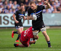 Bath Rugby's Sam Underhill in action during todays match<br /> <br /> Photographer Bob Bradford/CameraSport<br /> <br /> European Rugby Champions Cup - Bath Rugby v Toulouse - Saturday 13th October 2018 - The Recreation Ground - Bath<br /> <br /> World Copyright &copy; 2018 CameraSport. All rights reserved. 43 Linden Ave. Countesthorpe. Leicester. England. LE8 5PG - Tel: +44 (0) 116 277 4147 - admin@camerasport.com - www.camerasport.com