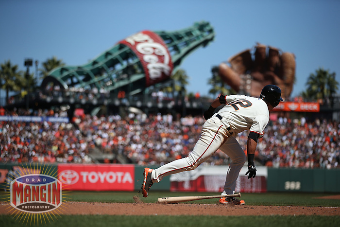SAN FRANCISCO, CA - SEPTEMBER 14:  Joe Panik of the San Francisco Giants bats during the game against the Los Angeles Dodgers at AT&T Park on Sunday, September 14, 2014 in San Francisco, California. Photo by Brad Mangin