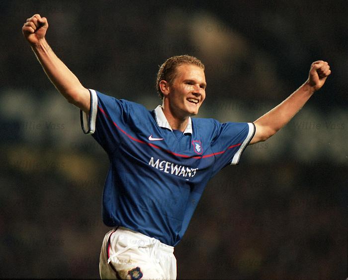 Jonatan Johansson celebrates scoring for Rangers against Bietar Jerusalem