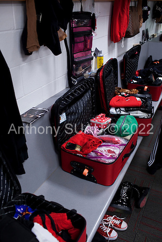 Miami, Florida<br /> January 29, 2012<br /> <br /> The Miami Heat Dancer's suitcases in their dressing room just minutes before the Chicago Bulls and the Miami Heat game.