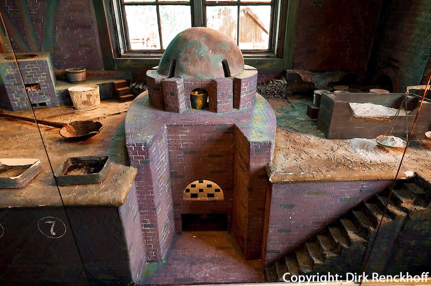 Norwegen, bei Oslo, Glashütte Blaafarveværket bei Åmot, Herstellung von Kobaltblau